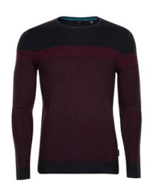 Cowden jacquard pattern long sleeve crew