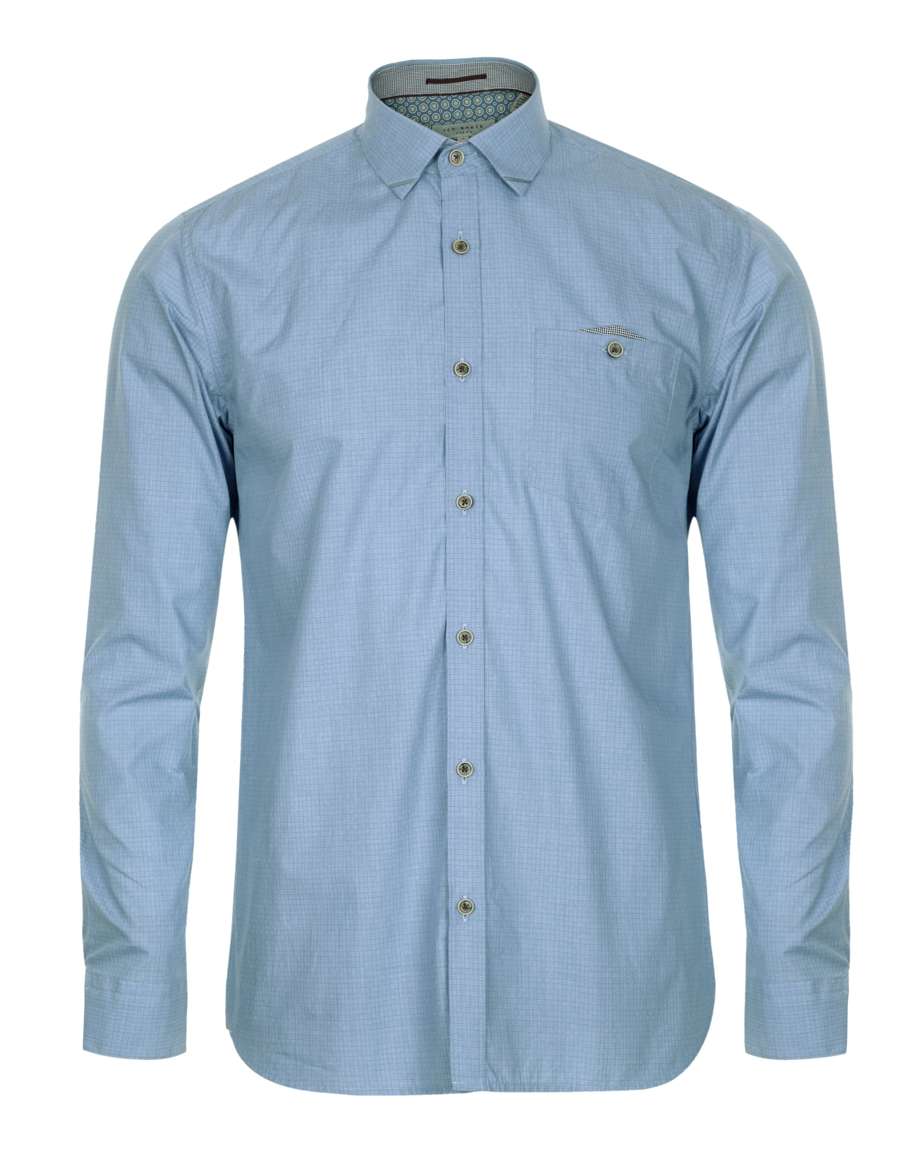 Wellfly pocket detail square weave shirt