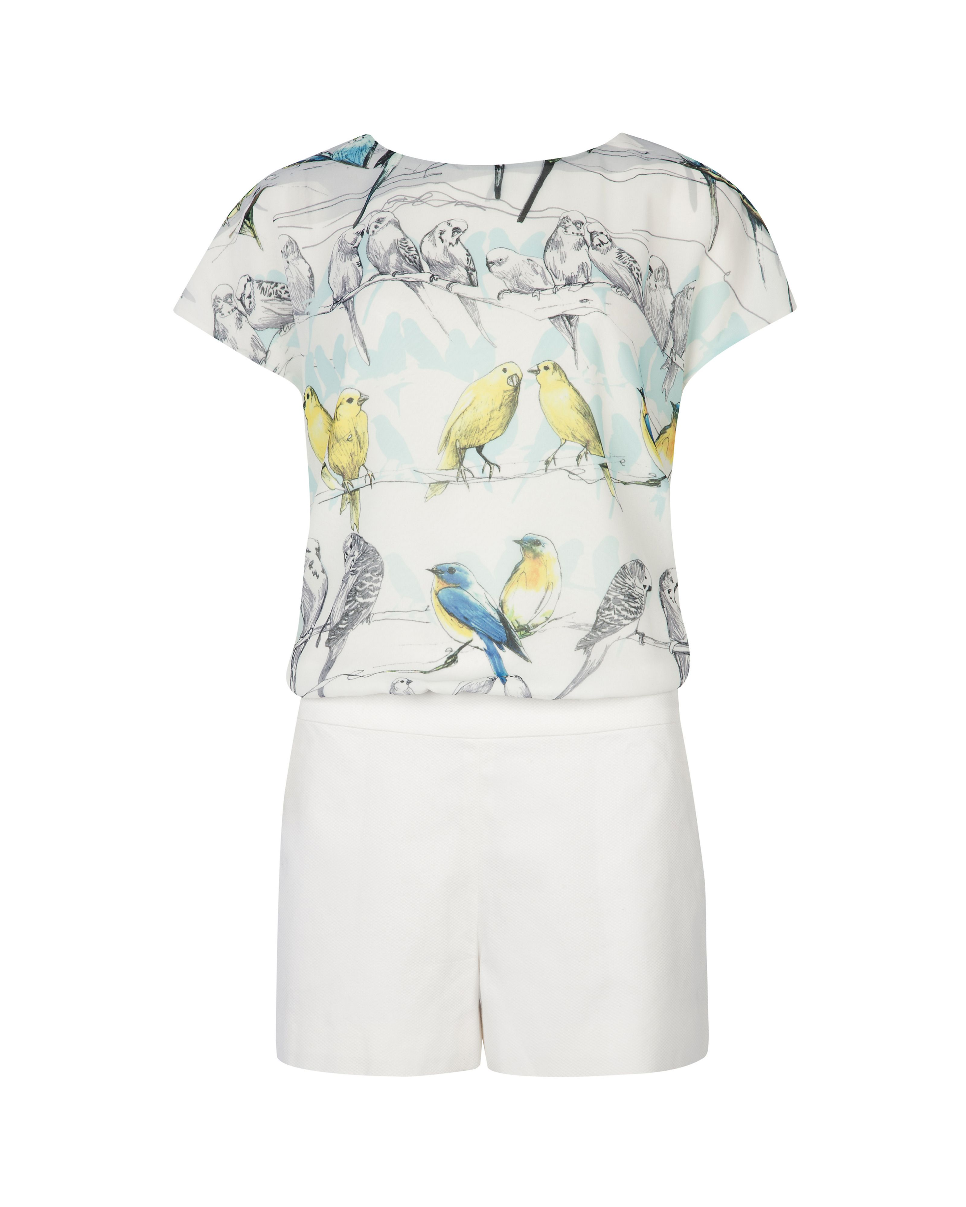 Kloe canary print playsuit
