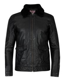 Baelor shearling collar leather jacket