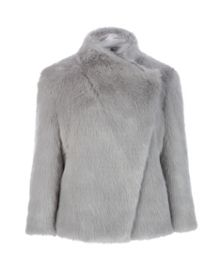 Saliana wrap collar faux fur jacket