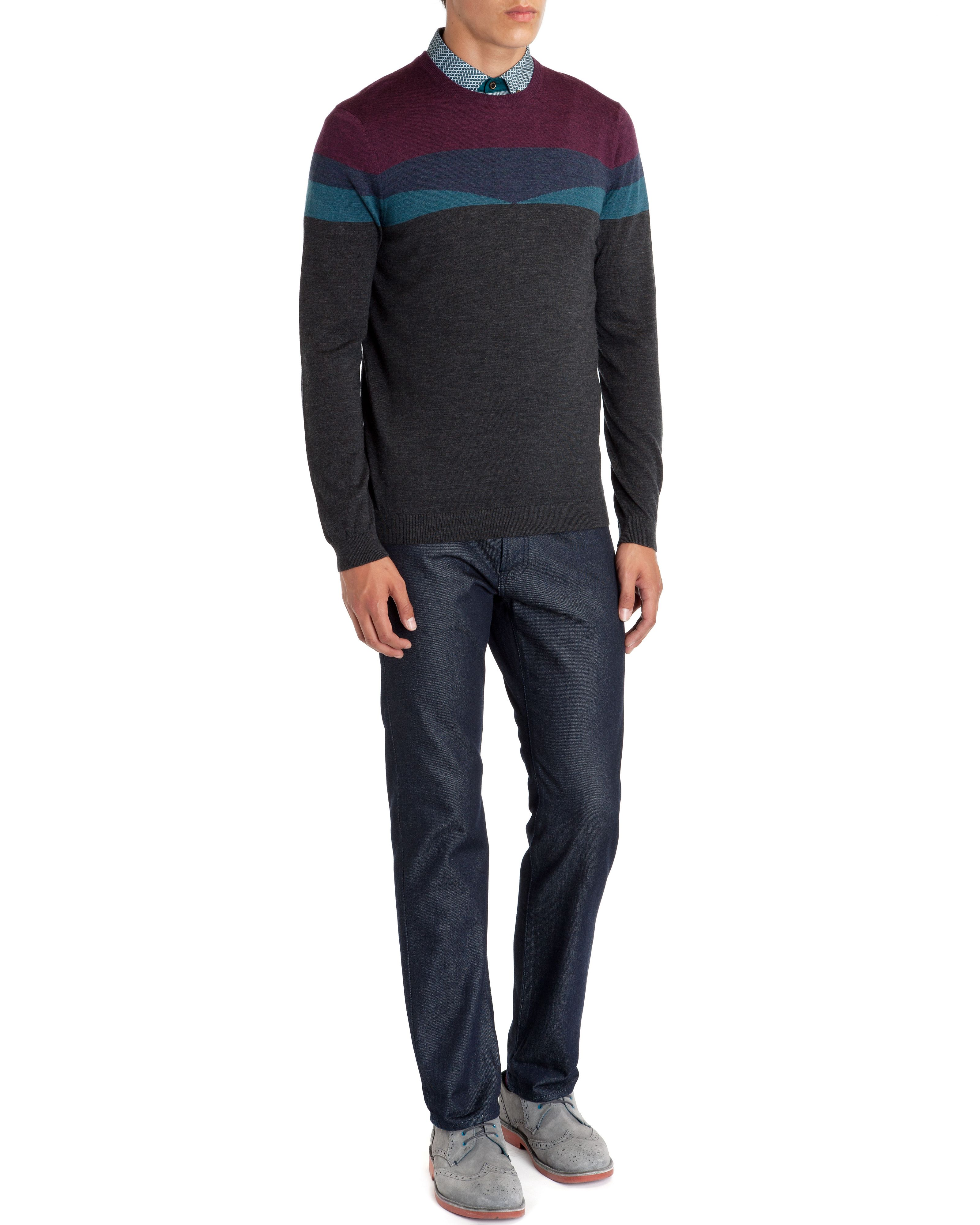 Farisle patterened merino wool jumper