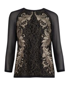 Hadara embroidered lace top