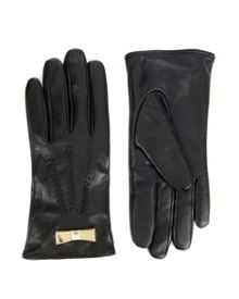Ida Metal bow leather gloves