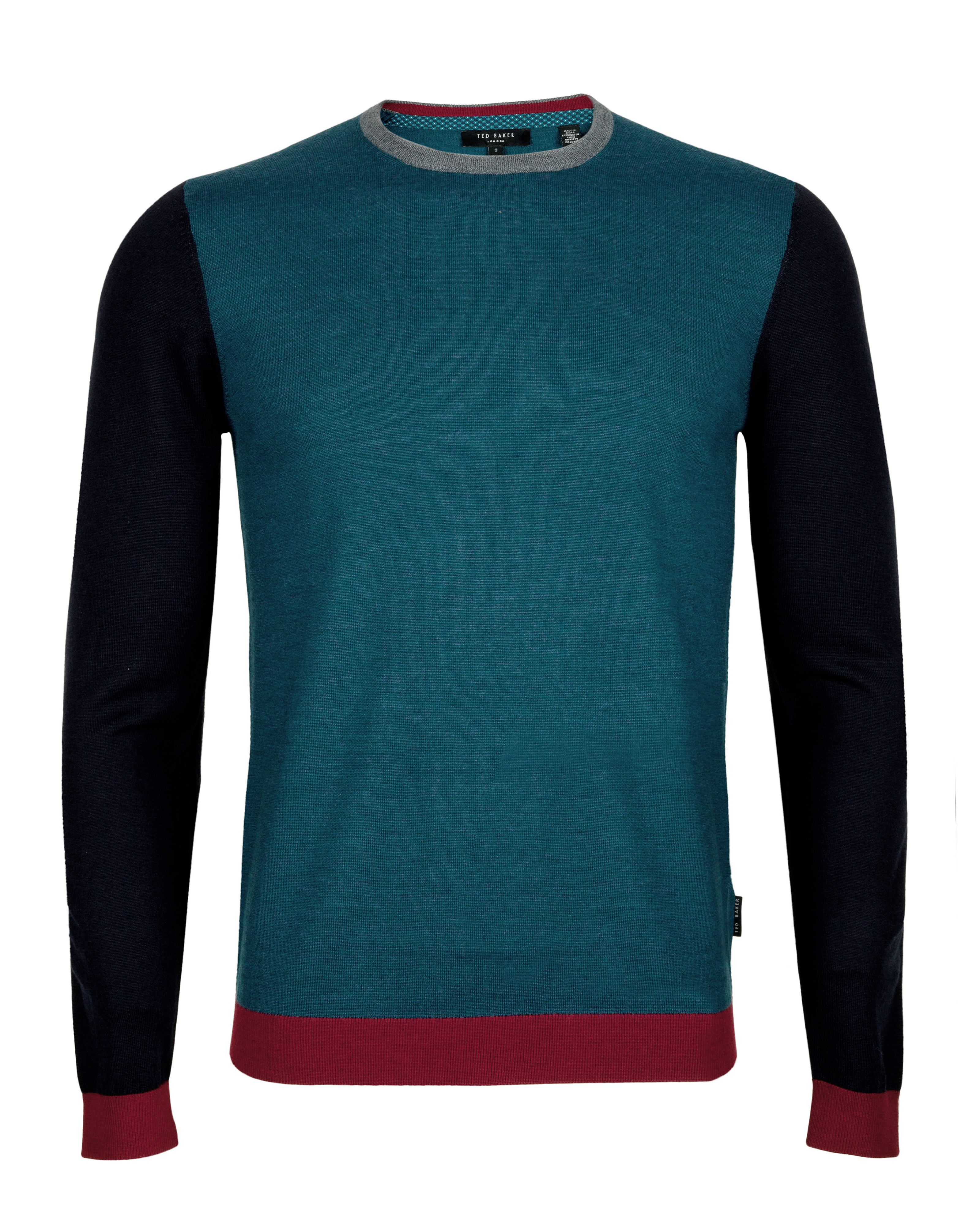 Basenew colour block crew neck jumper