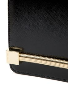 Samora Patent crosshatch clutch bag