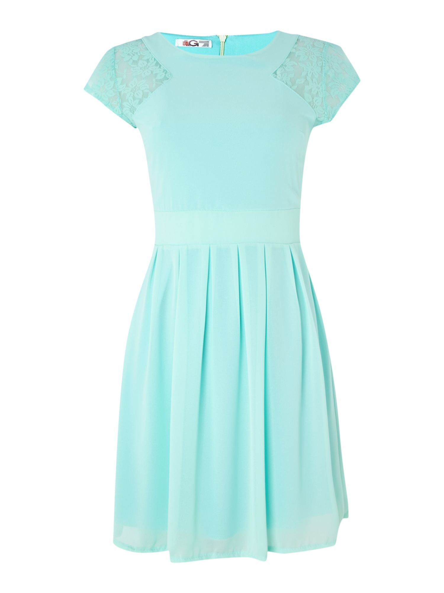 Cap Sleeve Pleat Skirt Dress