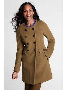 Women`s regular luxe wool collarless coat
