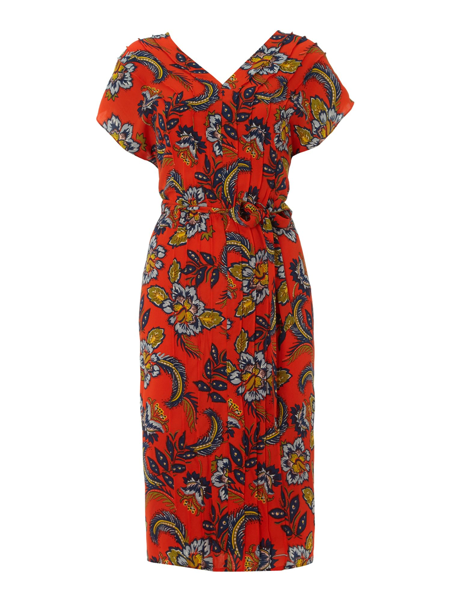 Women`s georgette print pintuck dress