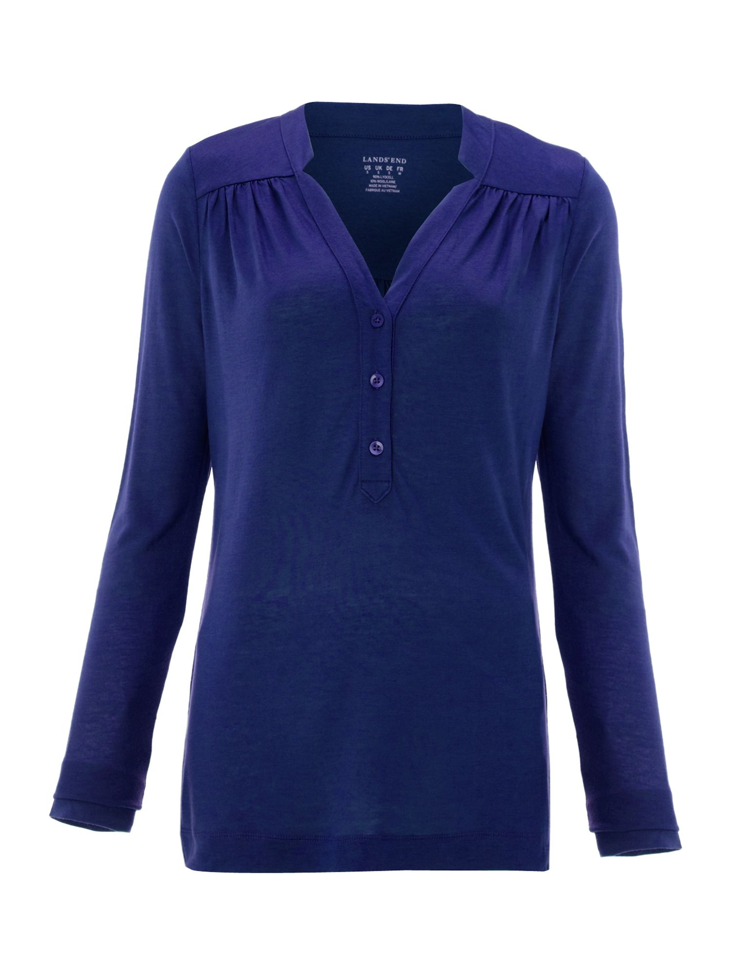 Women`s drapey knit long sleeve notched henley tu
