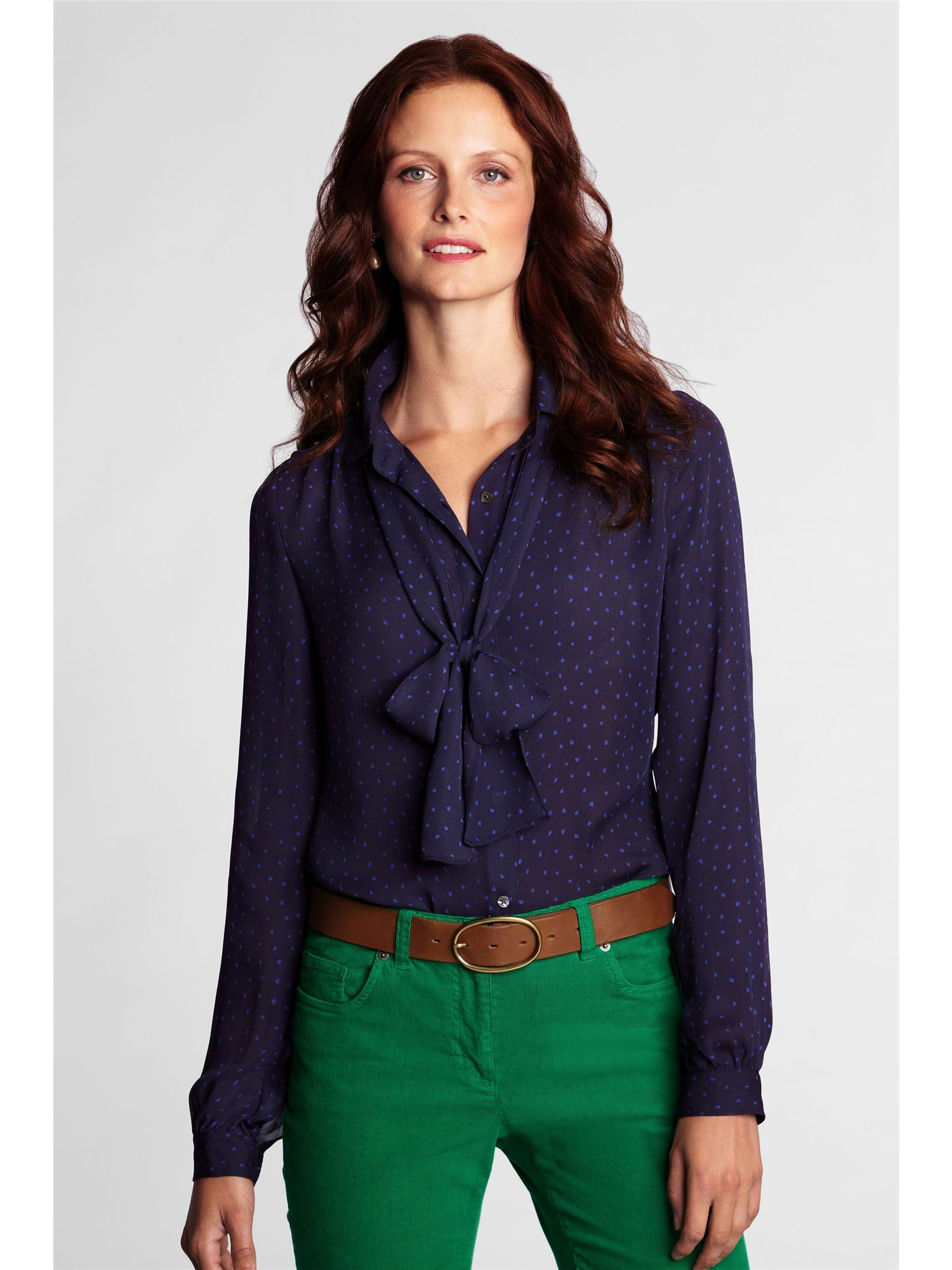 Women`s patterned georgette bow shirt