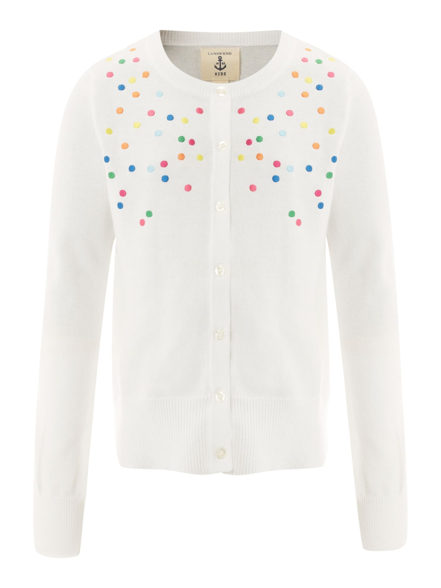 Girl`s embroidered dot cardigan