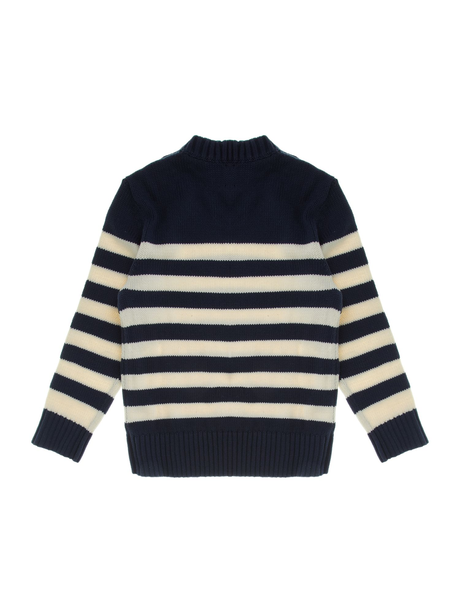 Little boy`s submarine striped cotton crew neck j