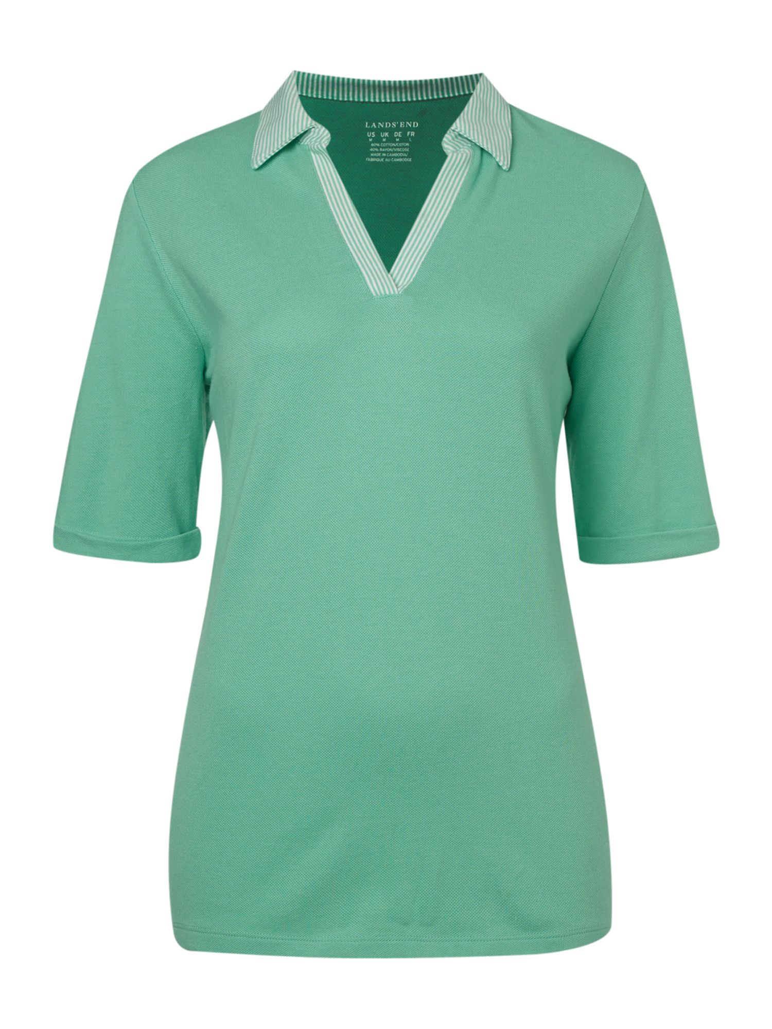 Striped collar pique polo