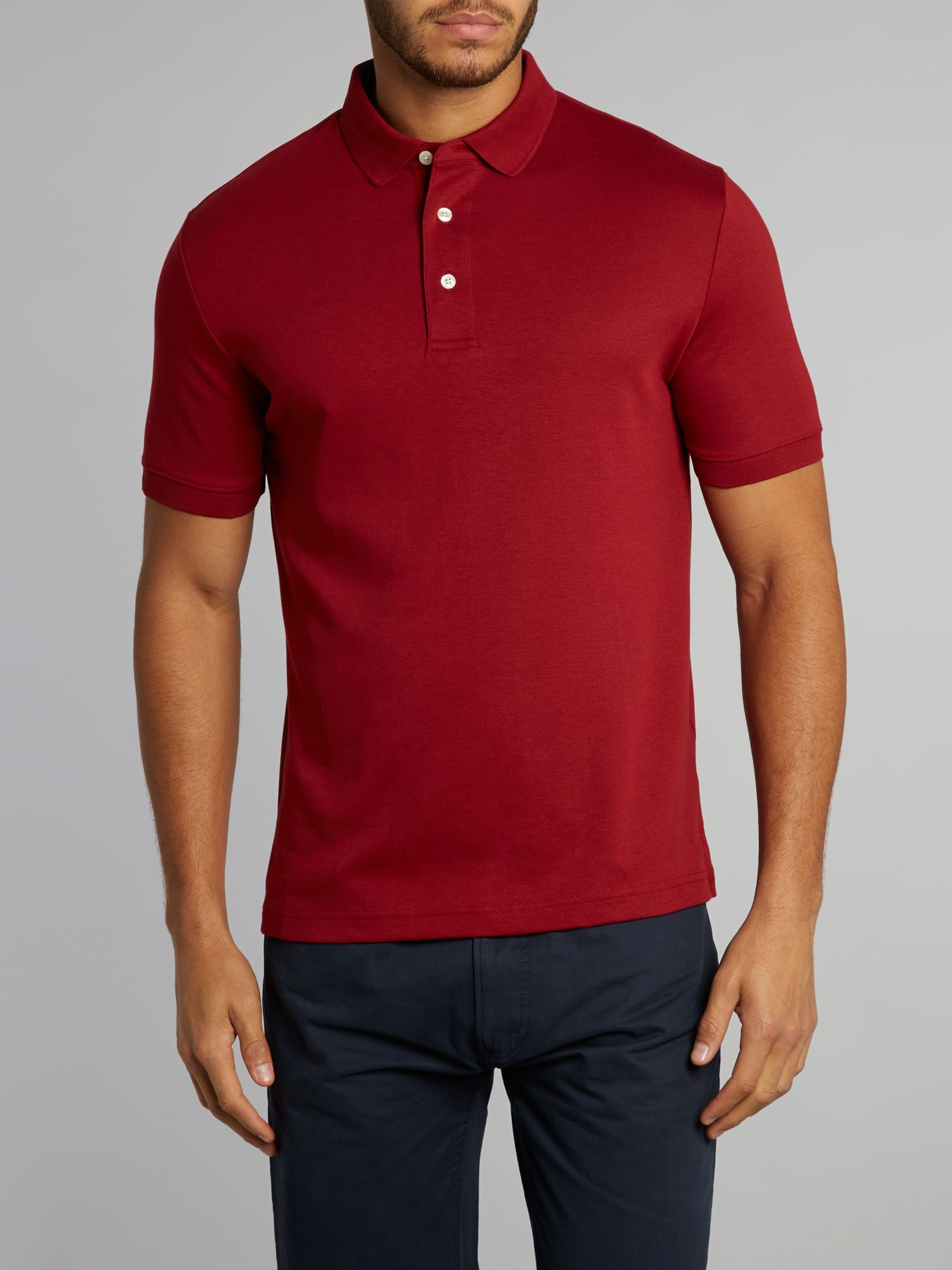 Short sleeved tailored fit supima polo