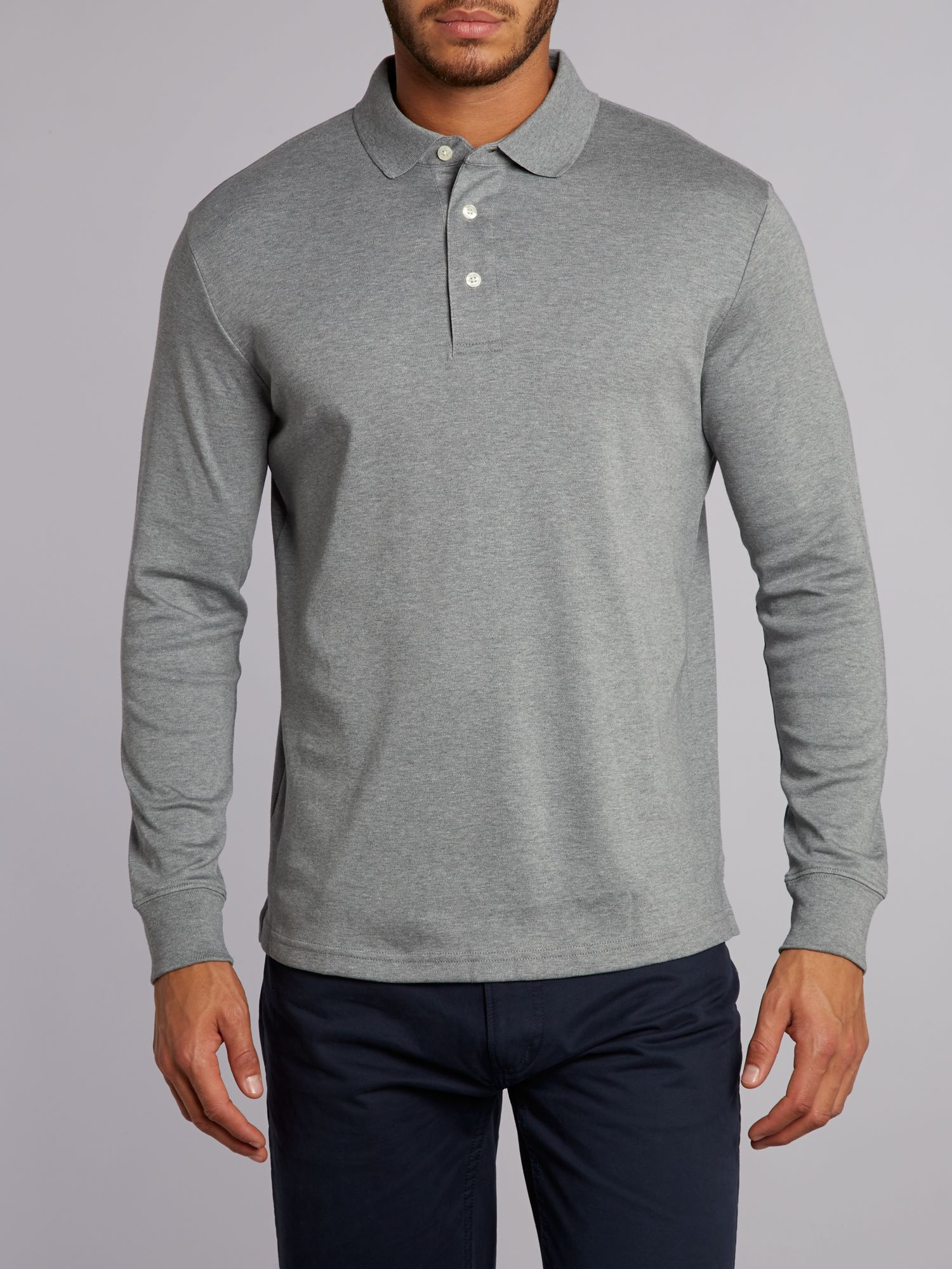 Long sleeve tailored fit supima polo
