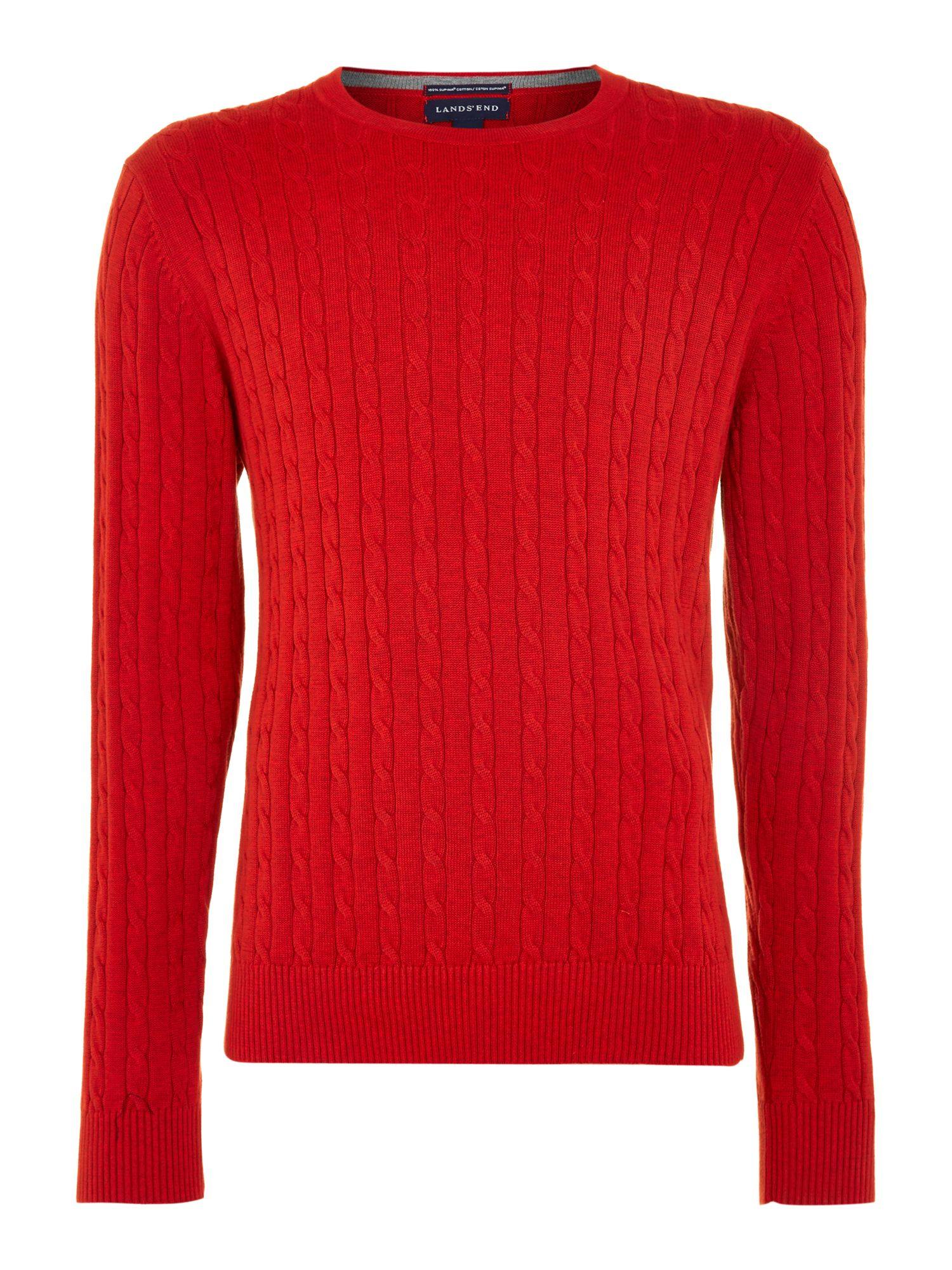 Men`s fine gauge cable crewneck sweater