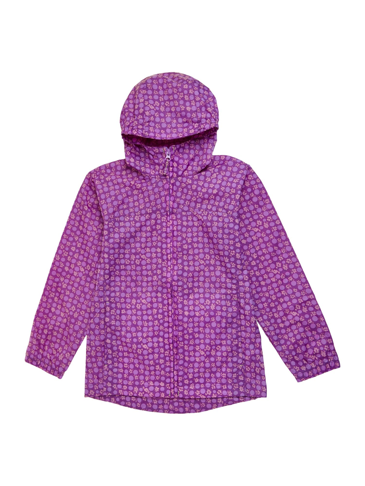 Girls Packable Patterned Rain Jacket