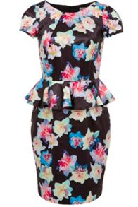 Daffodil print peplum dress