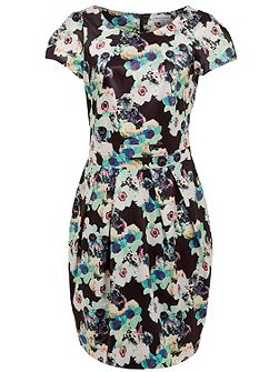 Wolf & Whistle Green floral print tailored dress