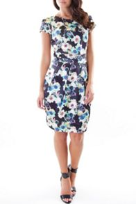 Green floral print tailored dress