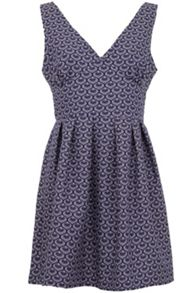 Wolf & Whistle Navy and cream cotton dress