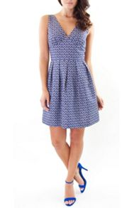Navy and cream cotton dress