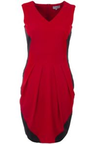 Duo colour fitted V-neck dress