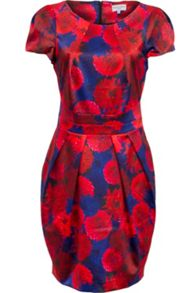 Bold floral print tailored dress