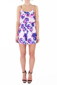 Ivory and lilac floral strappy playsuit