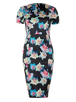 Wolf & Whistle Daffodil print midi length pencil