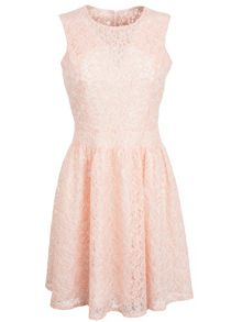 Pink chorded lace prom dress