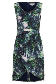 Palm print drape skirt dress
