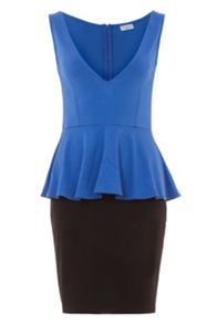 Wolf & Whistle Jersey Colour Block Peplum Dress