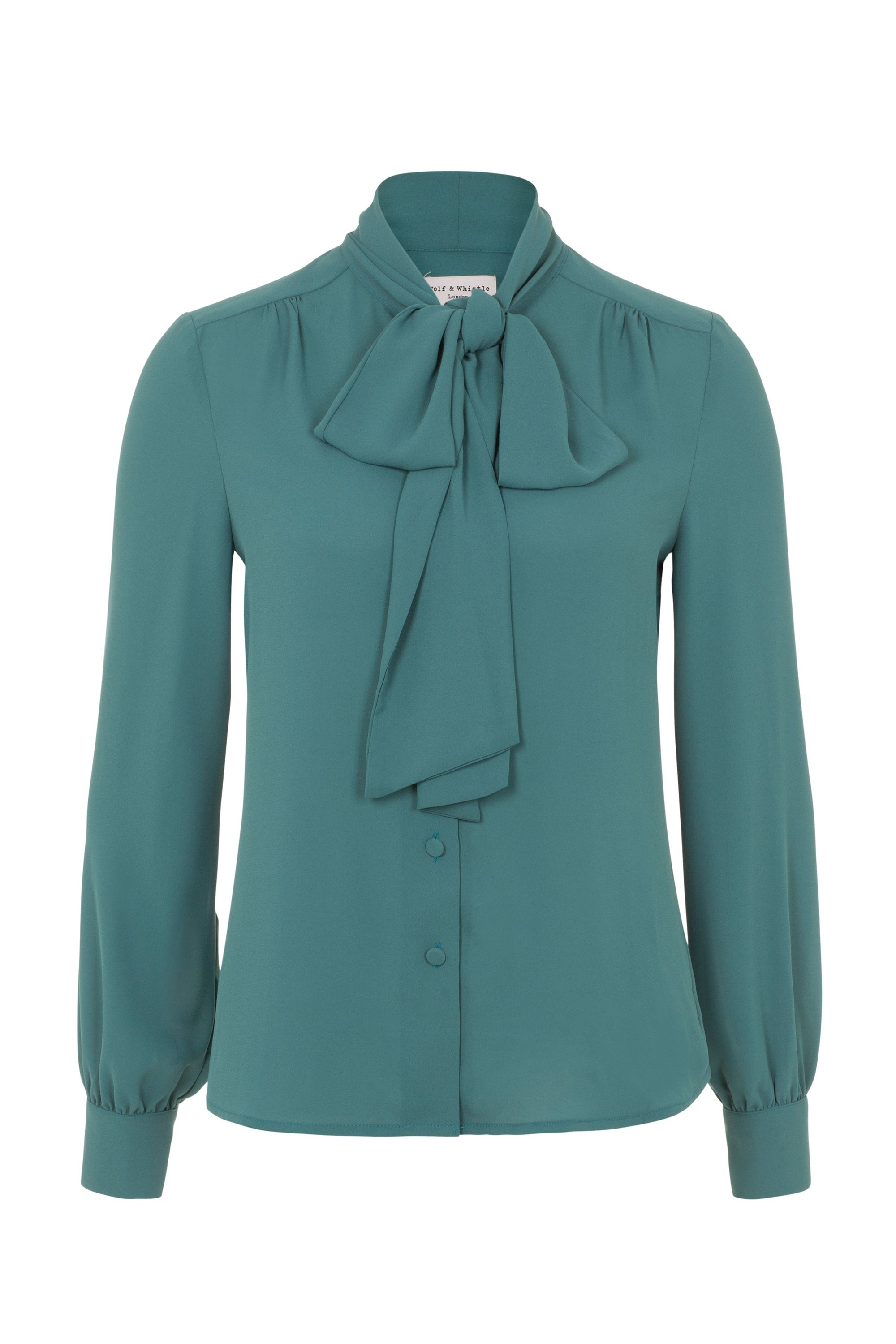Wolf  Whistle Green Bow Front Blouse Green £33.75 AT vintagedancer.com