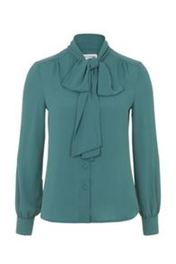Green Bow Front Blouse