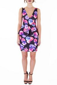 Wolf & Whistle Lilac Rose Jersey Peplum Dress