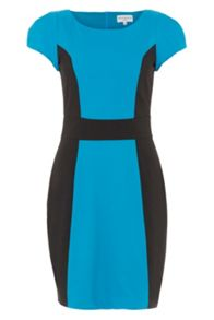 Turquoise and black panel tailored dress
