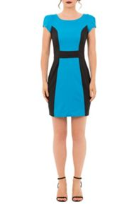 Whistle & Wolf Turquoise and black panel tailored dress