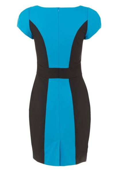 Wolf & Whistle Turquoise and black panel tailored dress