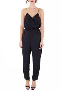 Black Strappy Cross Over Front Jumpsuit