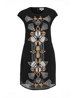 Black And Gold Beaded Shift Dress