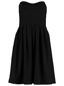Black Georgette strapless panelled dress