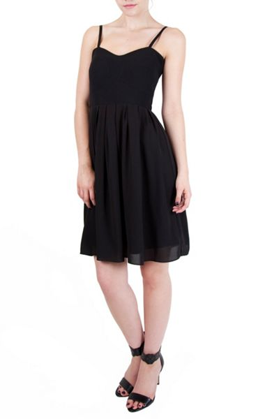 Wolf & Whistle Black Georgette strapless panelled dress