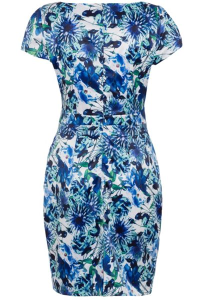 Wolf & Whistle Blue and White Floral Satin Tailored Dress