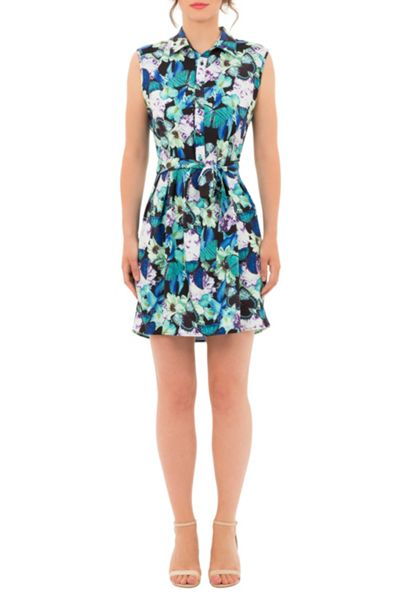 Wolf & Whistle Butterfly Floral Print Shirt Dress