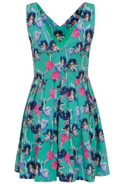 Wolf & Whistle Green orchid pleat skirt dress