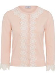 Wolf & Whistle Peach Crochet Trim Cardigan