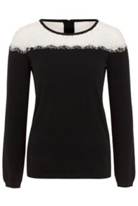 Wolf & Whistle Black Eyelash Lace Insert Jumper
