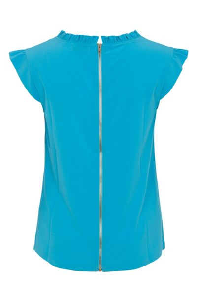 Wolf & Whistle Blue Frill Neck Top